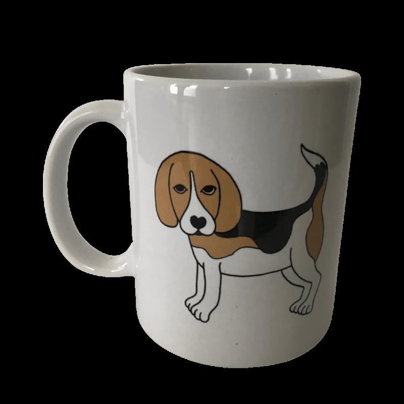 Beagle Tasse weiß Beagle tricolor stehend ❤️ Beagletuff - Rund um den Hund