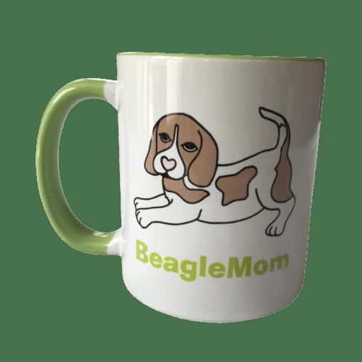 Beagle Tasse weiß grün Beagle bicolor BeagleMom