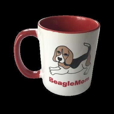 "Keramiktasse ""Beagle Mom"" tricolorrot"