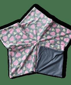Sternenbodenkissen Gr. L grau Herzen rosa
