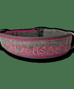 Halsband Wollfilz grau pink Herzenshund Sofortkauf