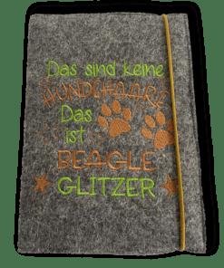 Kalender 2021 Wollfilz mittelgrau Hundespruch Beagleglitzer braun grün