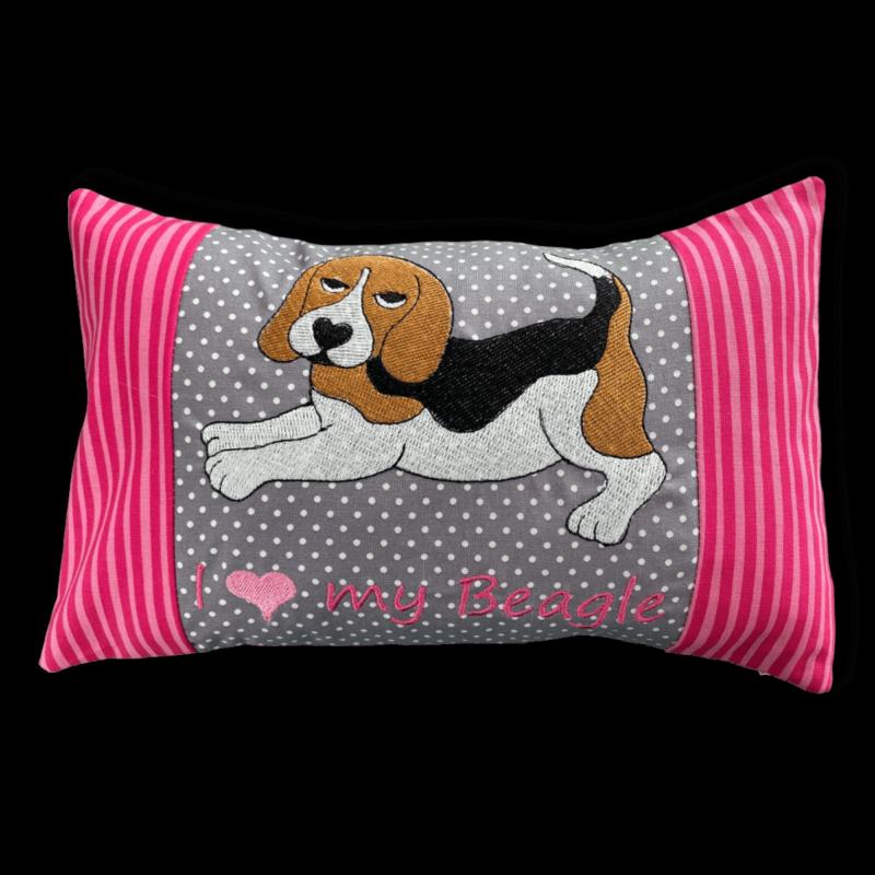 Beagle Schmusekissen klein grau pink Beagle tricolor ❤️ Beagletuff® - Rund um den Hund