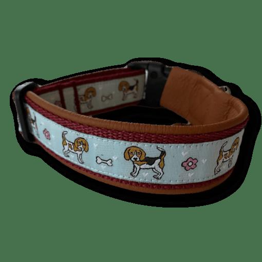 Beagle Halsband bordeaux rotbraun hellblau Sofortkauf