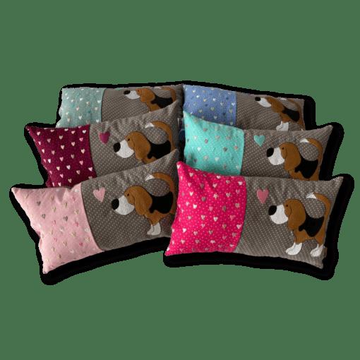 Schmusekissen klein taupe/rosa Beagle Kollektion Lotti