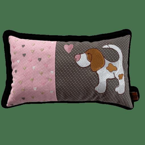 Schmusekissen klein taupe/rosa Beagle