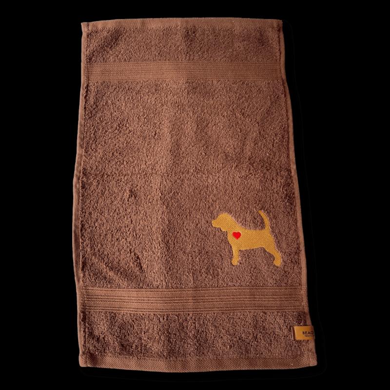 Gästehandtuch dunkelbraun Beagle Silhouette Sofortkauf ❤️ Beagletuff - Rund um den Hund