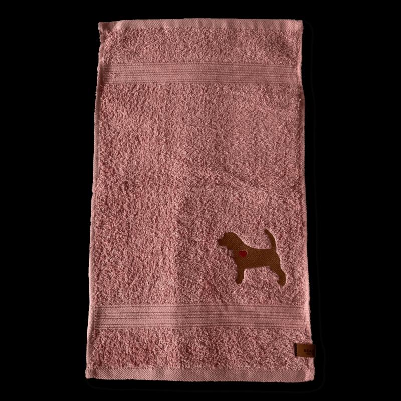 Gästehandtuch rosa Beagle Silhouette Sofortkauf ❤️ Beagletuff - Rund um den Hund