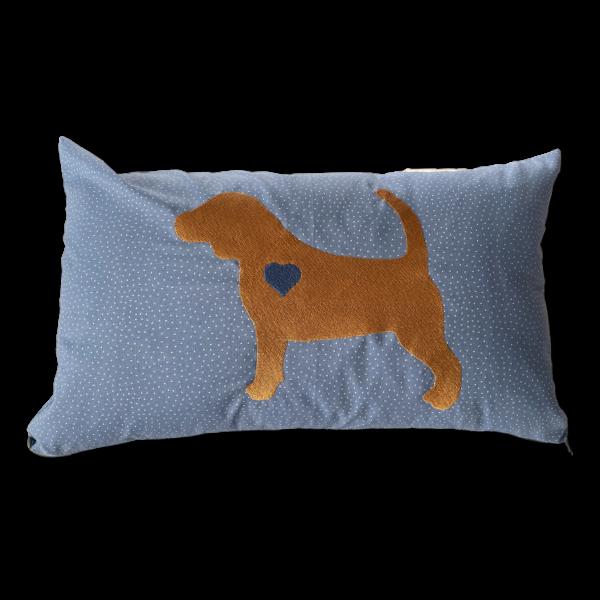 Schmusekissen groß Beagle Silhouette Herz blau 30x50cm