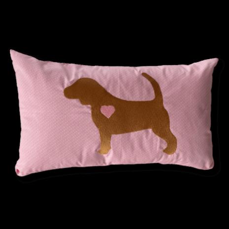 Schmusekissen groß Beagle Silhouette Herz rosa 30x50cm