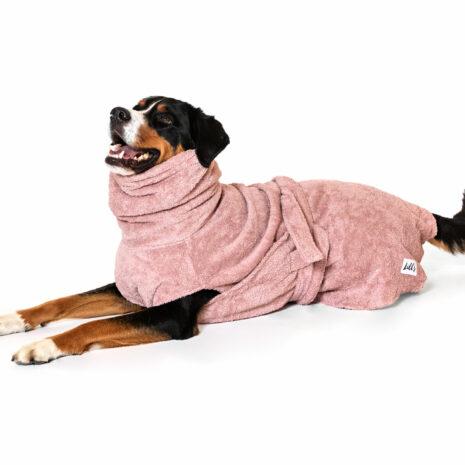 "Lill's Hundebademantel aus Bio-Baumwolle ""pink berry"""