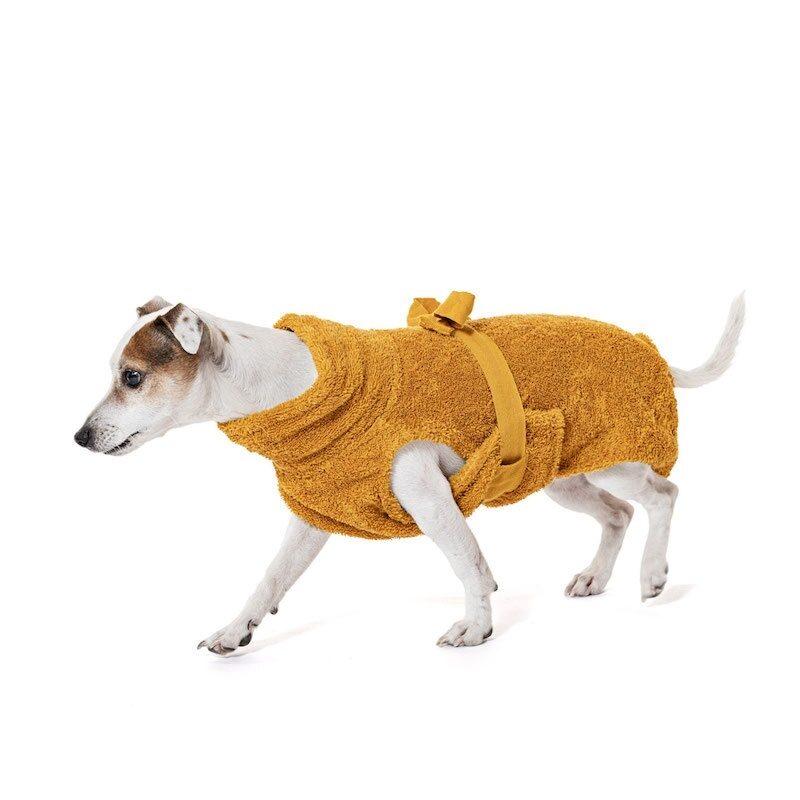 "Lill's Hundebademantel aus Bio-Baumwolle ""amber"""