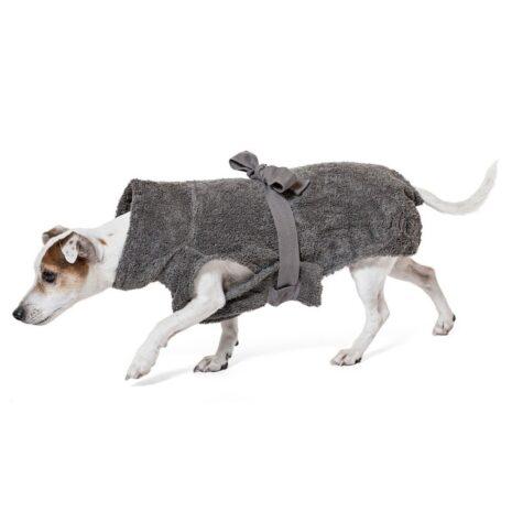 "Lill's Hundebademantel aus Bio-Baumwolle ""stone grey"""