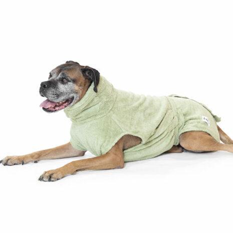 """Lill's Hundebademantel aus Bio-Baumwolle """"Green Leaf"""""""