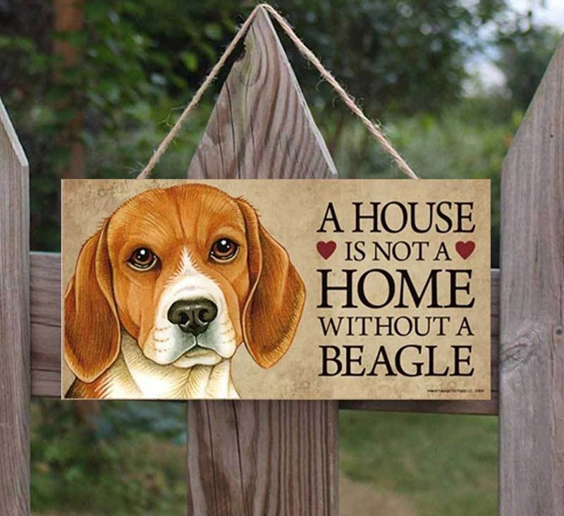 Holzschild - A House is Not a Home without a Beagle